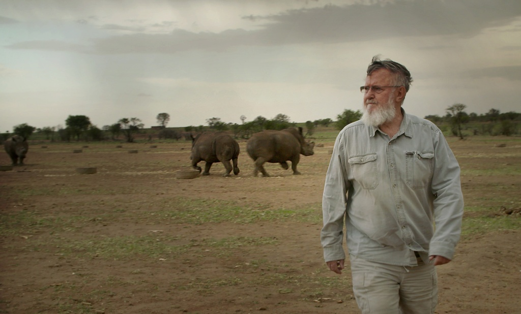 "John Hume, the worlds largest rhino breeder, at Buffalo Dream Ranch, North West Province, South Africa in 2016. He is featured in the film ""Trophy."""