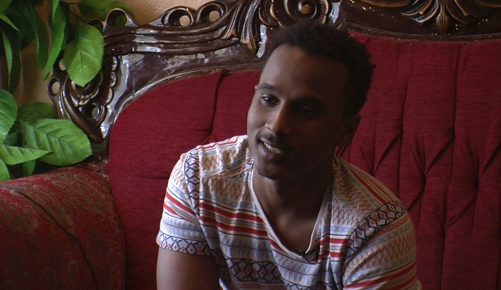 Mohamud Osman, 18, discusses why he wants to vote, Feb. 8, 2016.