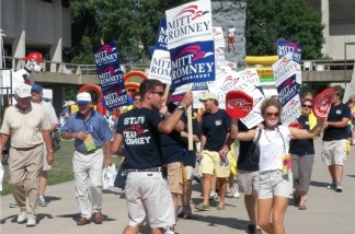 Mitt Romney supporters at the Ames Straw Poll in Iowa.