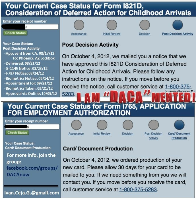 Ivan Ceja took this screen shot from the U.S. Citizenship and Immigration Services website in October when he learned his deferred action application was approved - and added his own celebratory comment, coined by a friend, before posting it to Facebook.