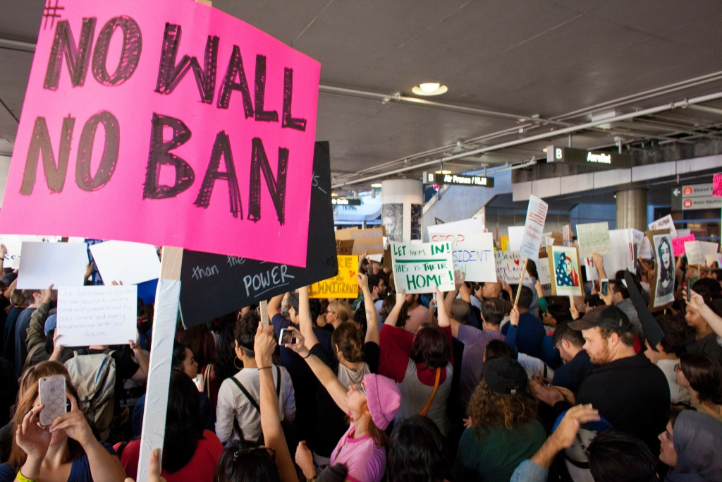 Protesters gather at the Los Angeles International airport's Tom Bradley terminal to demonstrate against President Trump's executive order on banning citizens from seven Muslim majority countries.