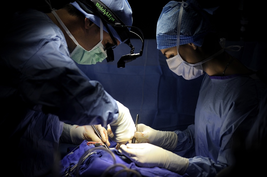 A surgeon (L) and an assistant surgeon perform an open-heart surgery in a cardiac surgery.
