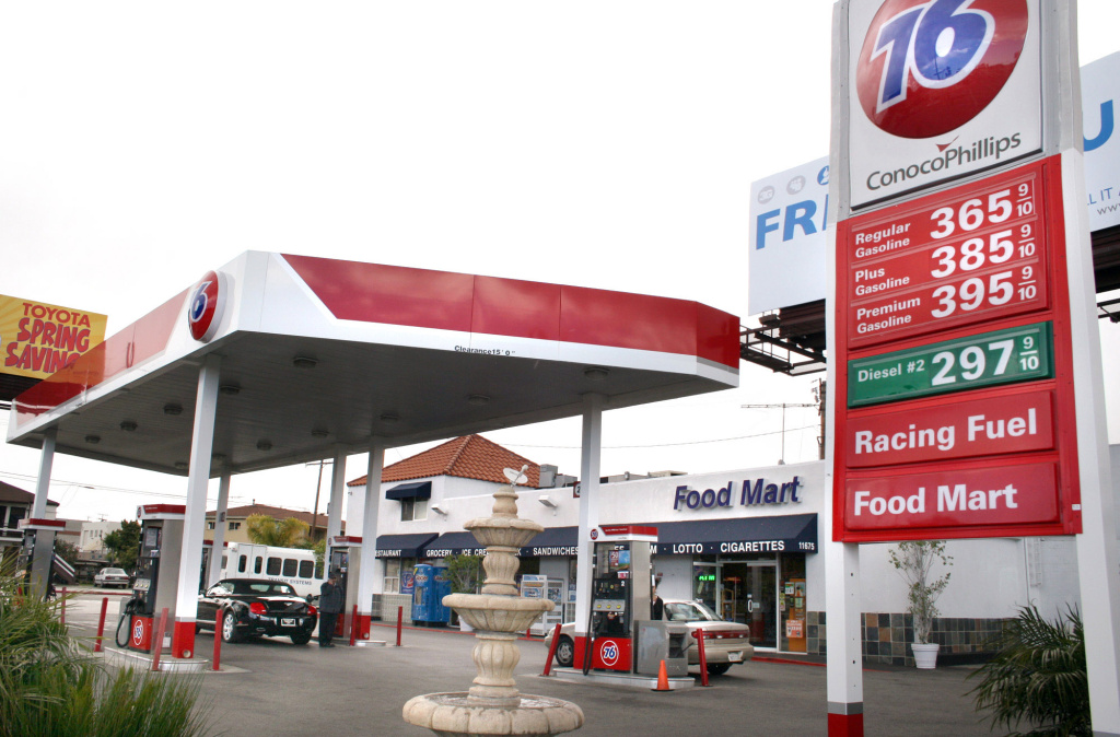 A 76 Gas Station at Barrington and Pico Avenues boasts some of the highest prices in the country on March 27, 2007 in Los Angeles, California.