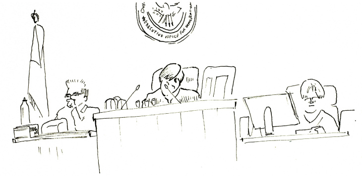 Immigration court sketch 3 b&w