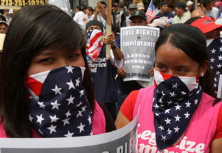 Demonstrators at a Los Angeles May Day rally for immigrant rights in 2009. The last major immigration reform attempts in Congress in 2006 and 2007 drew large crowds of supporters to marches around the country, but these events have grown smaller in recent years.