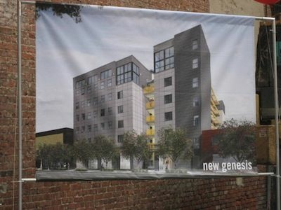Skid Row Housing Trust breaks ground on their New Genesis development March 30, in downtown Los Angeles, Calif.