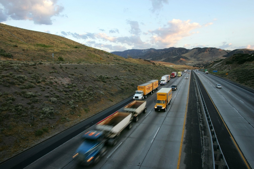 Trucks cross the San Andreas Fault at Tejon Pass between Los Angeles and northern California, Interstate 5, on June 30, 2006 near Gorman, California