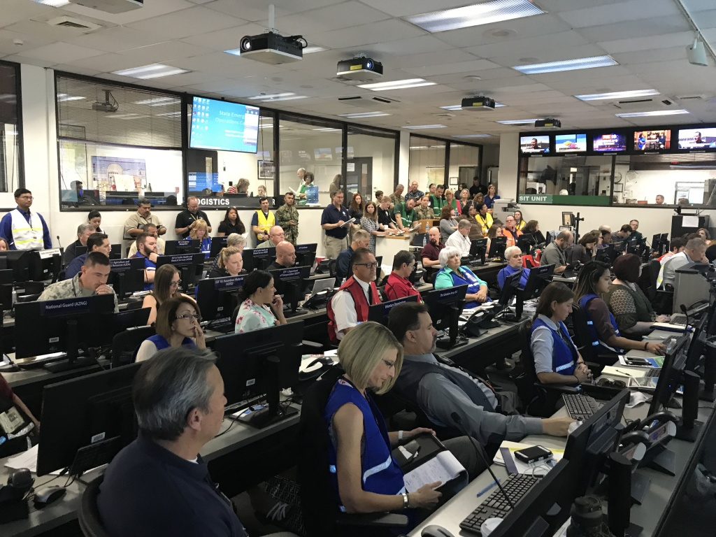 Morning briefing in the State Emergency Operations Center. Day three of Arizona's 2018 National Mass Care exercise.