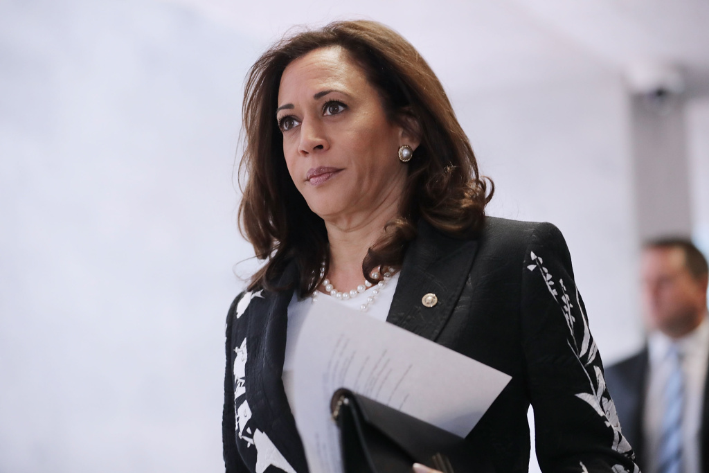 Sen. Kamala Harris heads to a closed-door meeting of the Senate Intelligence Committee on July 27, 2017.