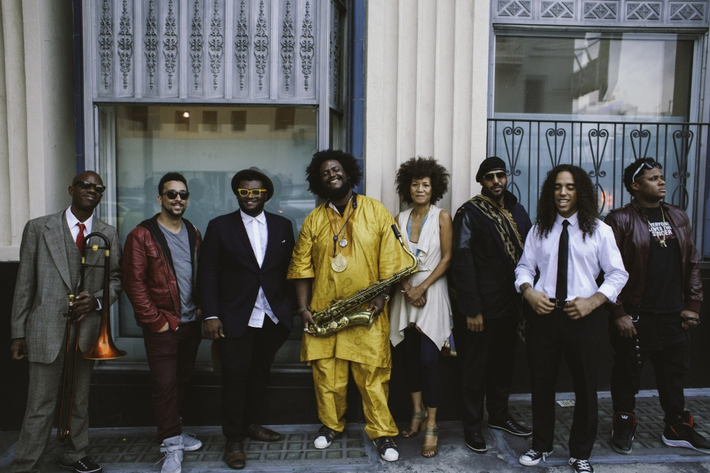 Kamasi Washington (center, with saxophone) and his band.