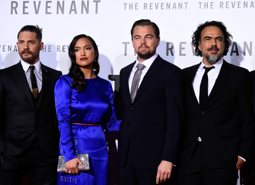 (L-R) Actors Tom Hardy, Grace Dove, Leonardo DiCaprio and filmmaker Alejandro Gonzalez Inarritu attend the premiere of 20th Century Fox and Regency Enterprises'