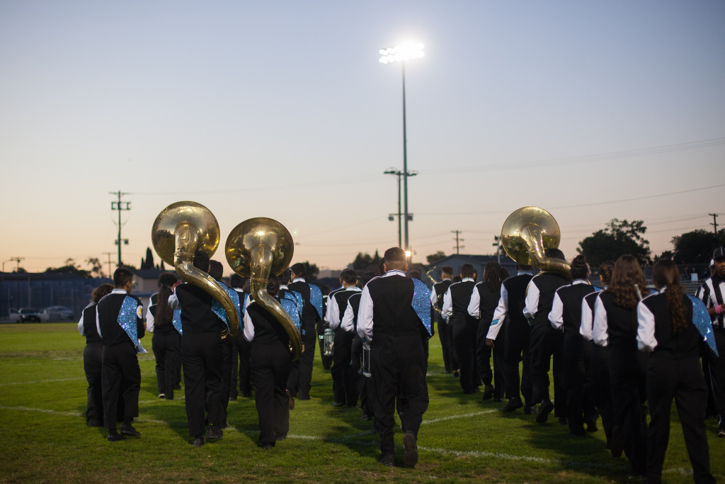 Students perform during the homecoming football game on Saturday October 21, 2017 at Locke High School in Los Angeles, CA.