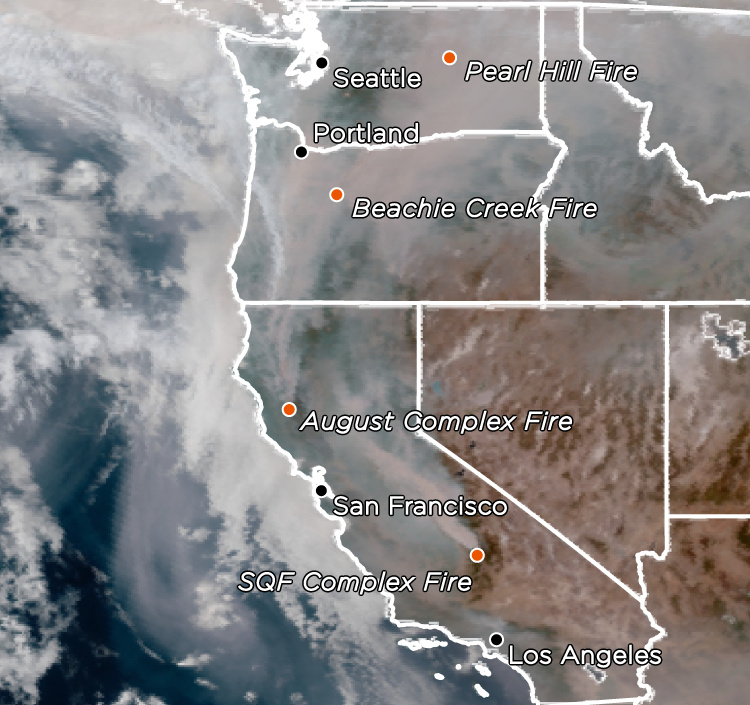 A satellite image shows smoke and some of the major fires on Sept. 13, 2020.