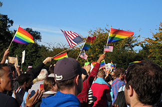 Thousands of LGBT rights supporters marched at the National Equality March Rally in Washington DC on October 2009.