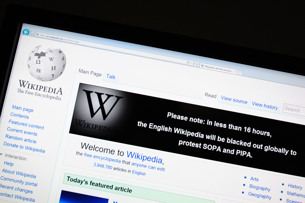 The online encyclopedia Wikipedia is viewed on Jan. 17, 2012, in Washington, DC. Free online knowledge site Wikipedia will shut down for 24 hours beginning at midnight eastern standard time in protest at draft anti-online piracy legislation before the US Congress, founder Jimmy Wales said Monday on Twitter.