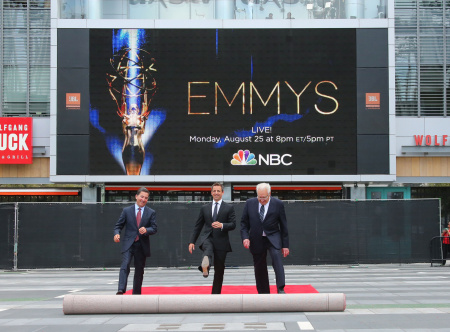 (L-R)  Chairman & CEO of the Academy of Television Arts & Sciences Bruce Rosenblum, actor and television host Seth Meyers and executive producer Don Mischer roll out the red carpet at 66th Annual Primetime Emmy Awards press preview day held at the Nokia Theatre L.A. Live on Aug. 20, 2014 in Los Angeles.