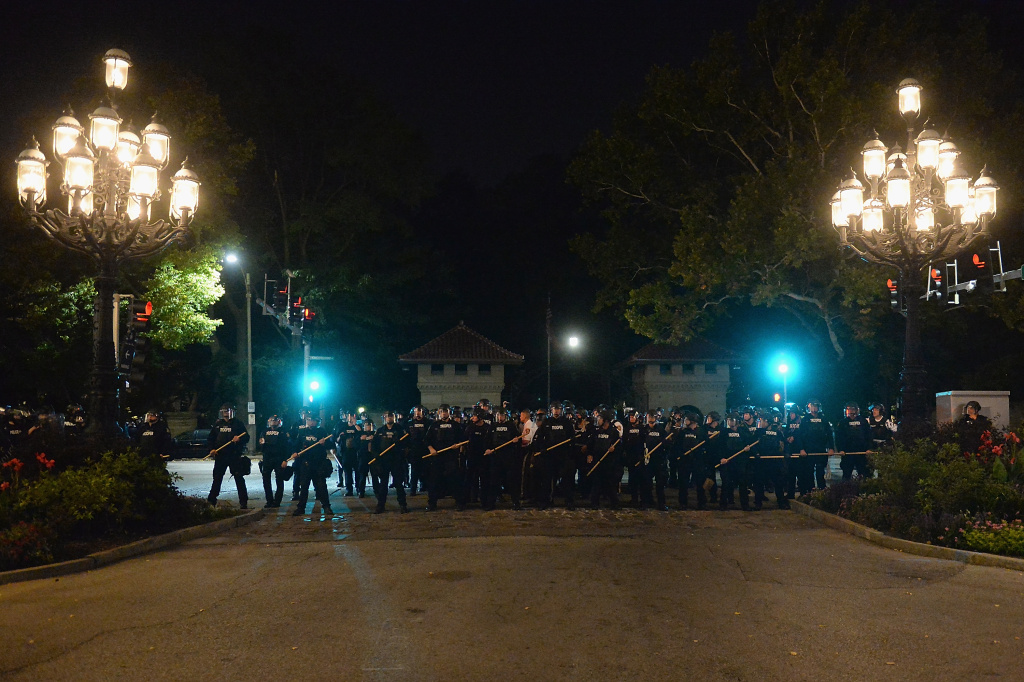 ST. LOUIS, MO - SEPTEMBER 15: Law enforcement officers stand guard during a protest action following a not guilty verdict on September 15, 2017 in St. Louis, Missouri. Protests erupted today following the acquittal of former St. Louis police officer Jason Stockley, who was charged with first-degree murder last year in the shooting death of motorist Anthony Lamar Smith in 2011. (Photo by Michael B. Thomas/Getty Images)