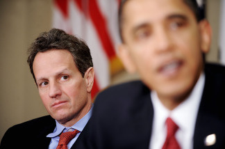 Timothy Geithner, Secretary of the Treasury looks on as President Barack Obama speaks during a meeting with CEOs of several small and community banks December 22, 2009 in the Roosevelt Room at the White House in Washington, DC. They discussed lending to small businesses and regulatory reform among other topics.