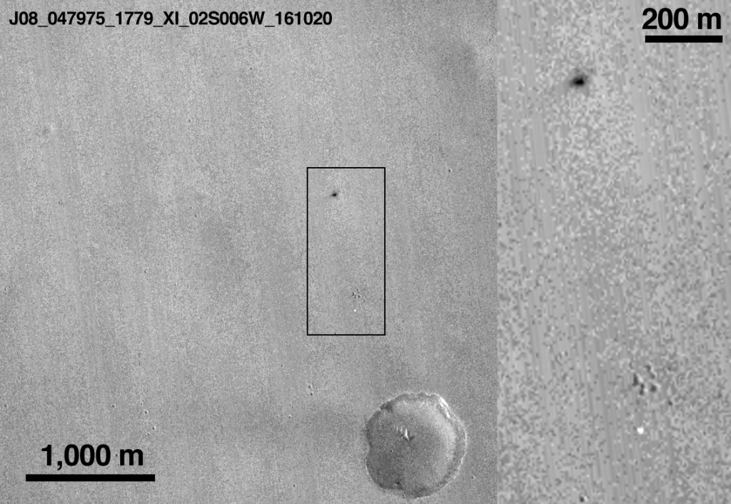 NASA has released this image of a section of Mars' surface where the European Space Agency's lander is believed to have met its end.