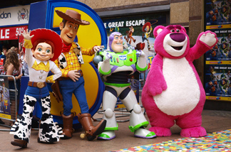 The four main characters (L-R), Jessie, Woody, Buzz, and the new one Lot's-O'-Huggin Bear arrive in London's Leicester Square on July 18, 2010 for the British Premiere of their Pixar/Disney film, Toy Story 3 in 3D.