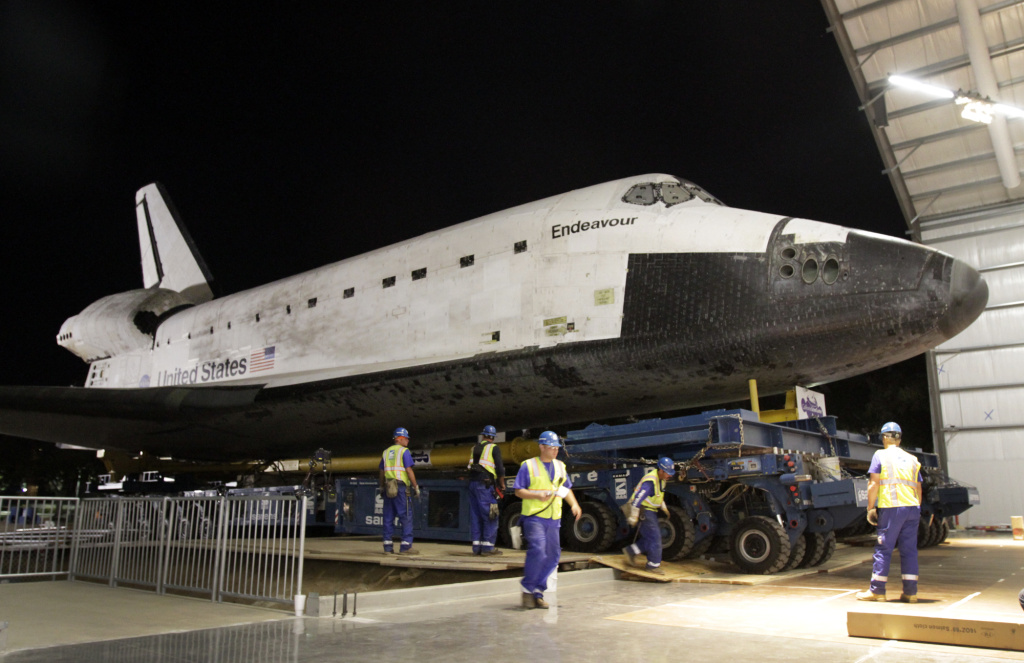 The Space Shuttle Endeavour is moved into the hangar in the California Science Center on October 14,  2012 in Los Angeles, California. NASA's Space Shuttle Program ended in 2011 after 30 years and 135 missions.