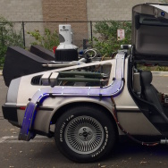 A fully-tricked out Delorean replica of the time machine used in Back to the Future.  The film marks its 30th anniversary this week.