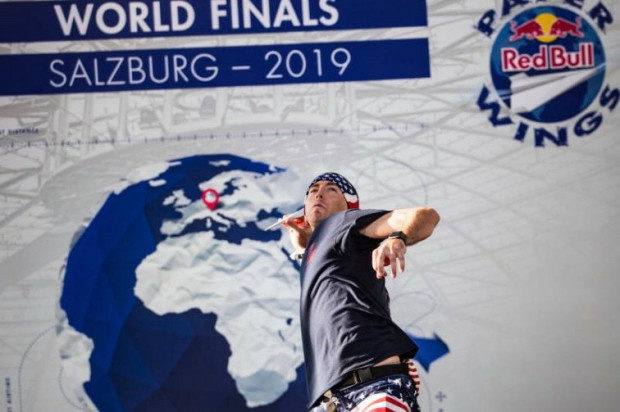 Jake Hardy, from Long Beach, won first place for throwing a paper airplane at the longest distance in Red Bull's Paper Wings World Finals in Salzburg, Austria, on Saturday, May 18.