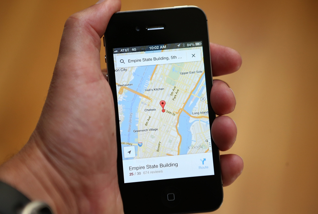 The Google Maps app is seen on an Apple iPhone 4S on December 13, 2012 in Fairfax, California. Three months after Apple removed the popular Google Maps from its operating system to replace it with its own mapping software, a Google Maps app has been added to the iTunes store.