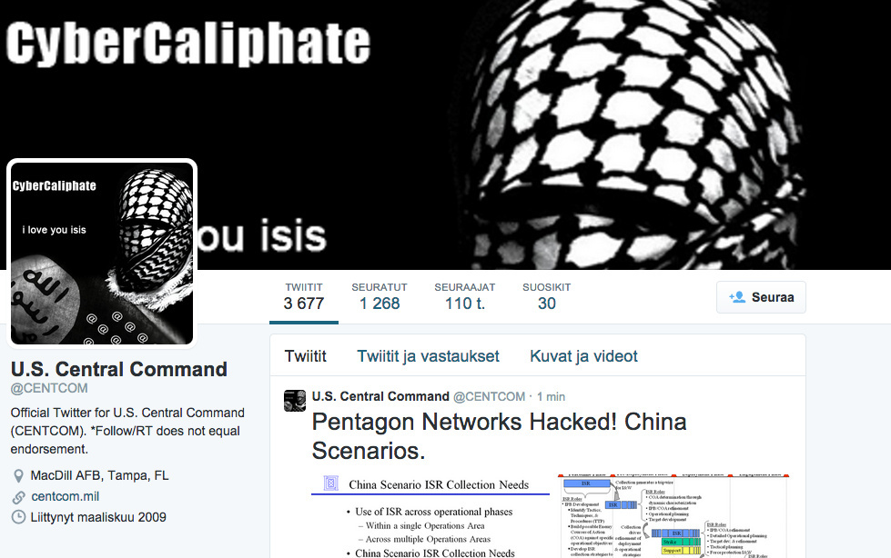 The Twitter account of U.S. Central Command appeared to have been taken over by hackers who claimed links with the Islamic State group on Monday, January 12, 2014.