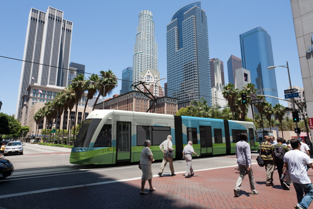 An artist's rendering depicts a proposed streetcar service in downtown Los Angeles.