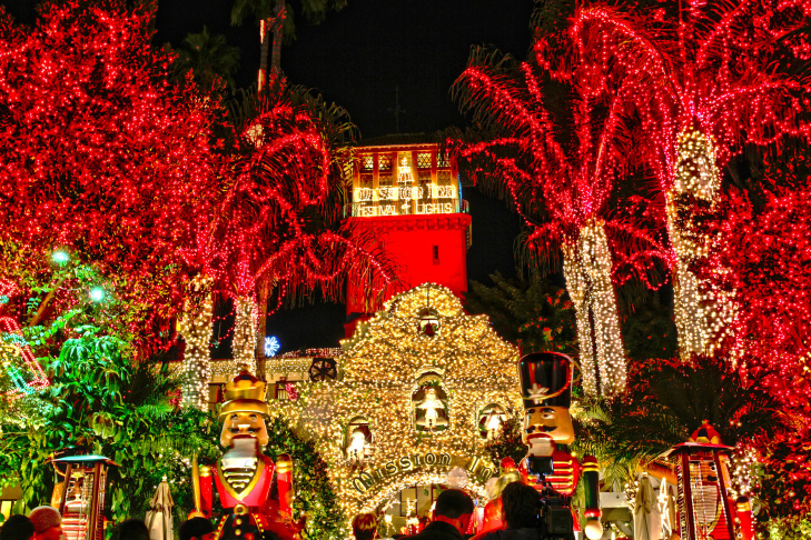 More than 4 million lights decorate the Mission Inn in Riverside for its annual Festival of Lights.