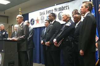Los Angeles County Sheriff Lee Baca announces on Wednesday, Feb. 16, 2011, the indictment of 88 alleged members of the Armenian Power street gang. They were busted by some 800 officers from nine local and federal law enforcement agencies.