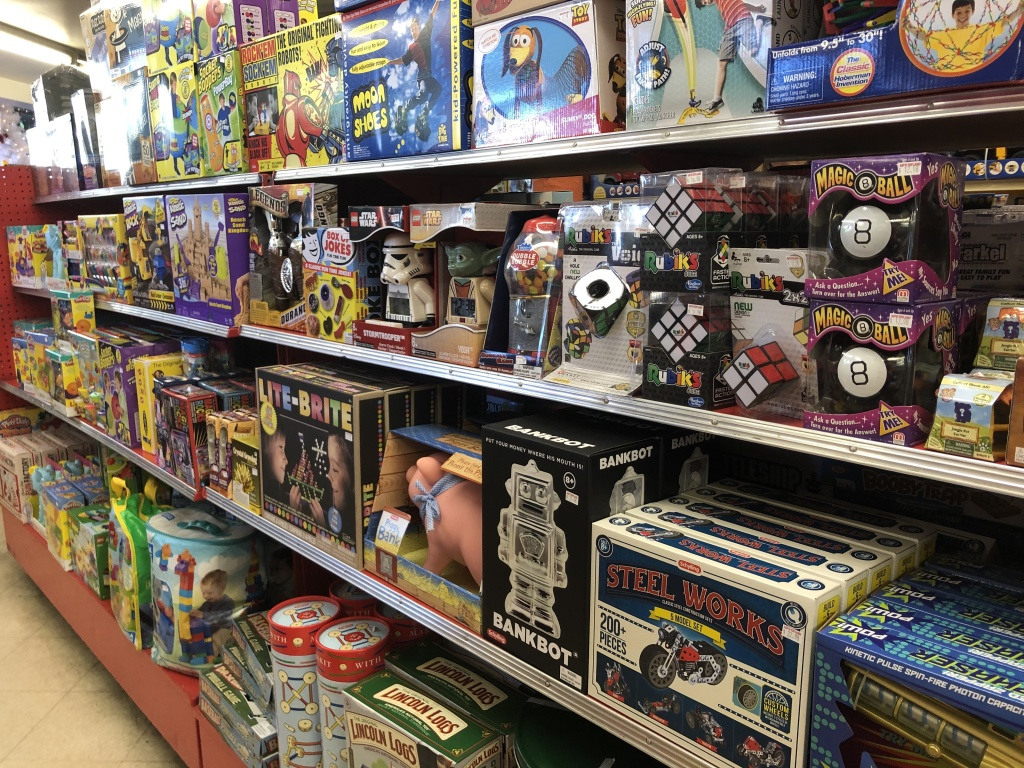 Classic toys line the shelves at Kip's Toyland in Fairfax.