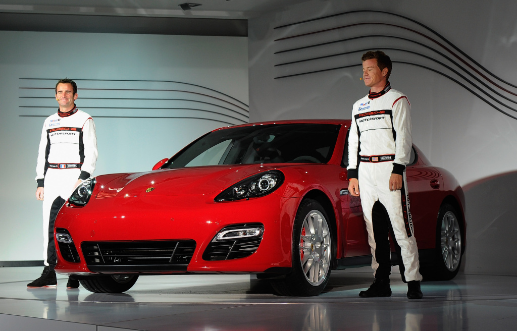 The new Porsche Panamera GTS is unveiled by race car drivers at the LA Auto Show on November 16, 2011 in Los Angeles.
