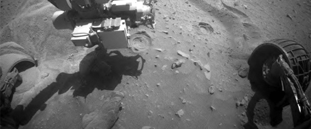 "The Mars Exploration Rover - Spirit attempted to turn all six wheels on Sol 2126 (Saturday, Dec. 26, 2009) to extricate itself from the sand trap known as ""Troy,"" but stopped earlier than expected because of excessive sinkage."