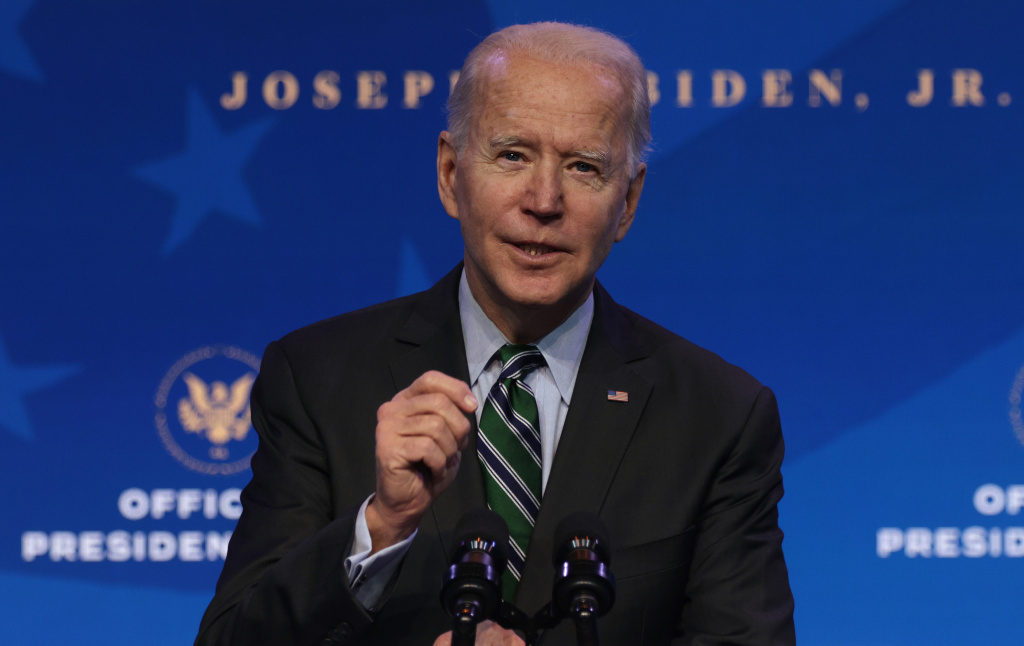 U.S. President-elect Joe Biden speaks during an announcement January 16, 2021 at the Queen theater in Wilmington, Delaware. President-elect Joe Biden has announced key members of his incoming White House science team.