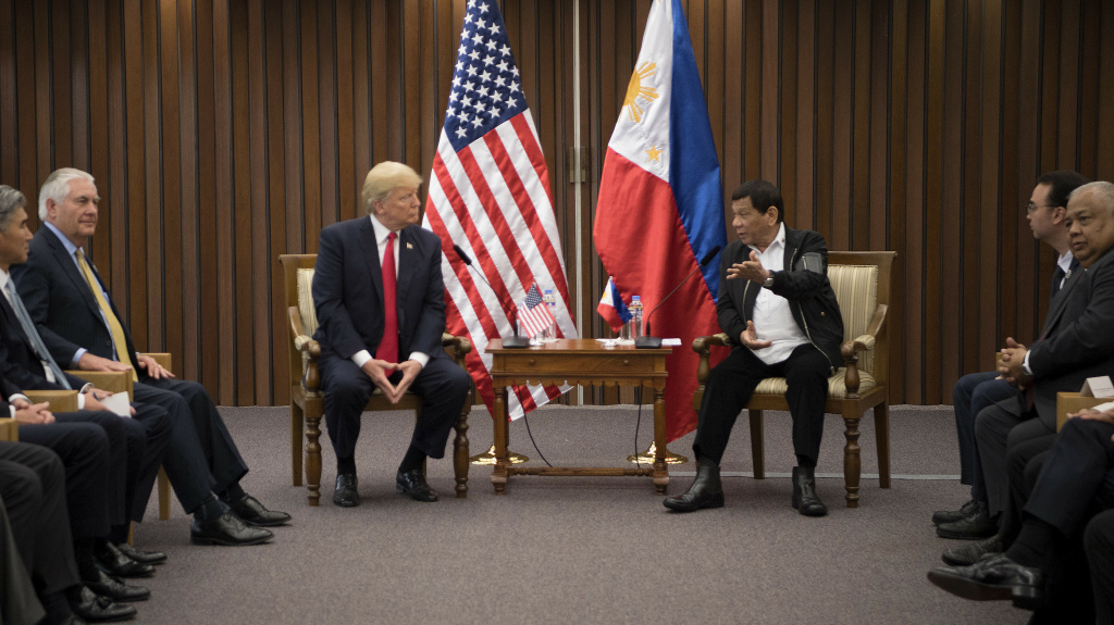 US President Donald Trump (L) listens to Philippine President Rodrigo Duterte during their bilateral meeting on the side line of the 31st Association of South East Asian Nations (ASEAN) Summit in Manila on November 13, 2017.