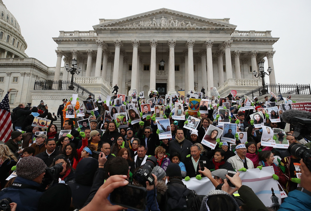 People who call themselves DREAMers protest in front of the U.S. Capitol on December 6, 2017. They want Congress to passing a legislative fix for the Deferred Action for Childhood Arrivals (DACA) program.