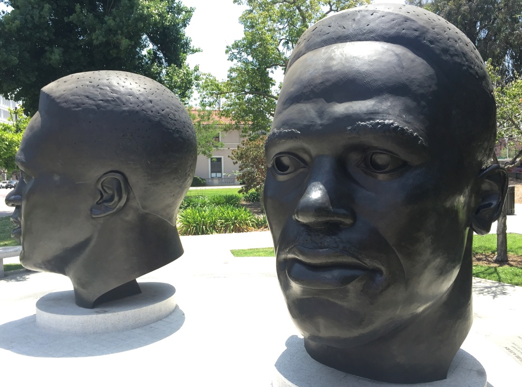 Ralph Helmick and John Outterbridge's statues of Mack and Jackie Robinson at Centennial Square in Pasadena