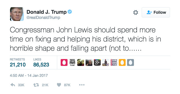 Screengrab of a tweet in which President-elect Donald Trump criticizes civil rights icon Congressman John Lewis.