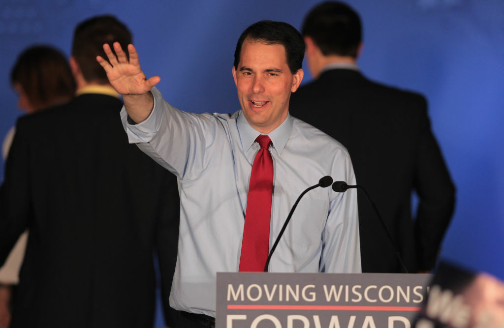 Wisconsin Gov. Scott Walker greets supporters at an election-night rally June 5, 2012 in Waukesha, Wisconsin.
