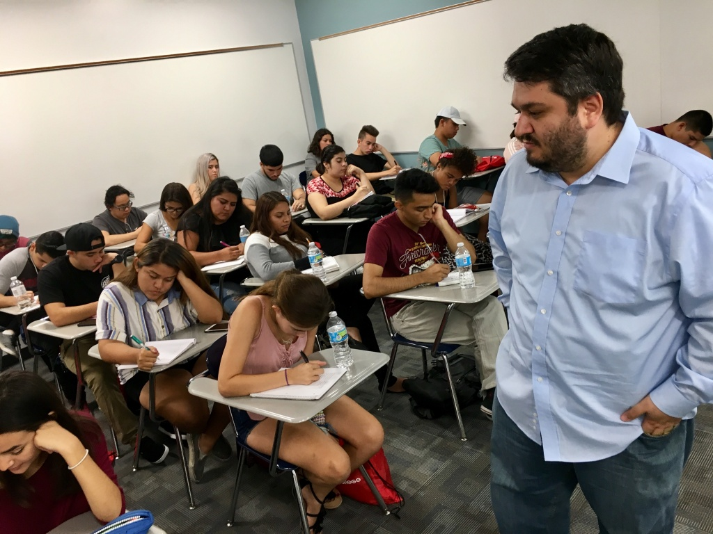 Pierce College math professor Eddie Tchertchian gives L.A. College Promise students test taking tips weeks before their first day of class.