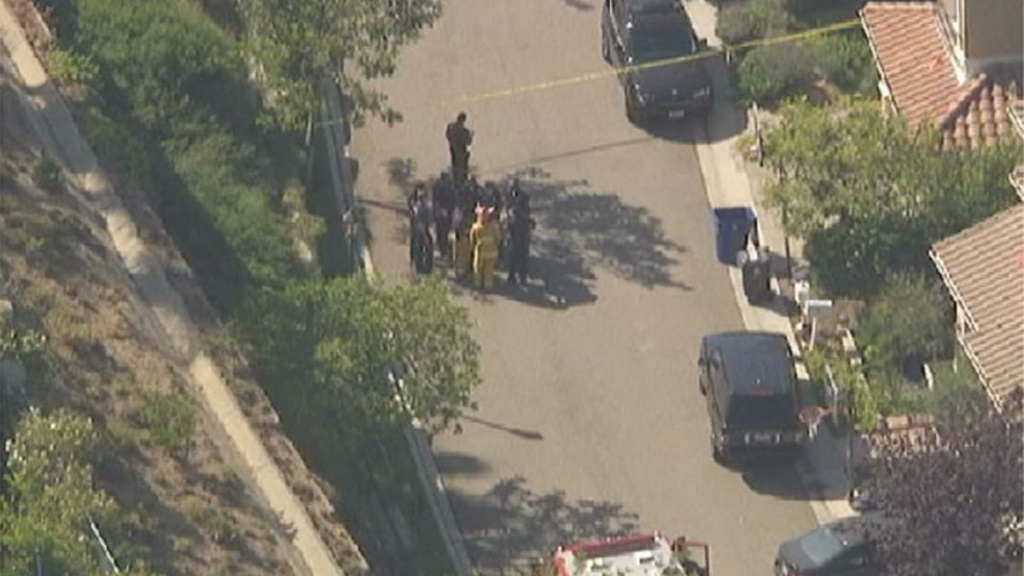 A large police presence following a report of shots fired in Pacific Palisades on Tuesday morning, July 23, 2013.