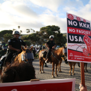 Counter-protestors at a rally in Laguna Beach