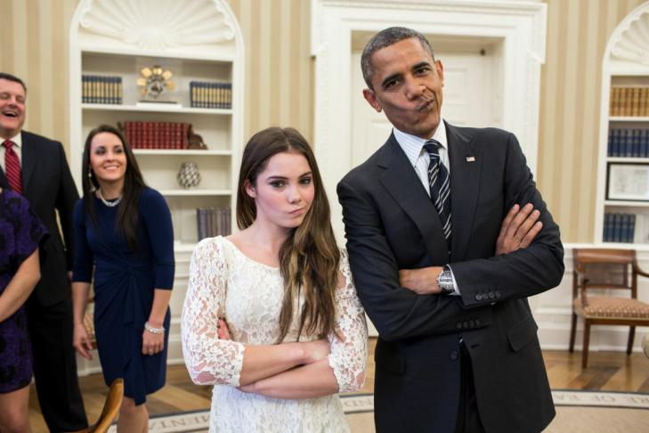 President Barack Obama jokingly mimics U.S. Olympic gymnast McKayla Maroney's