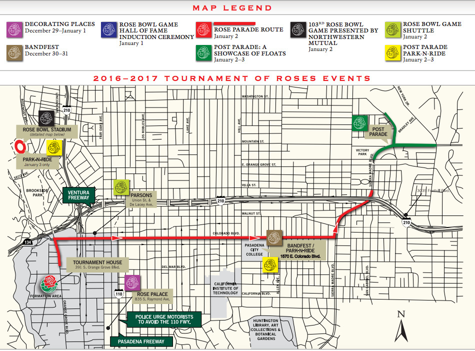 A map of the parade route for the 2017 Rose Parade in Pasadena.