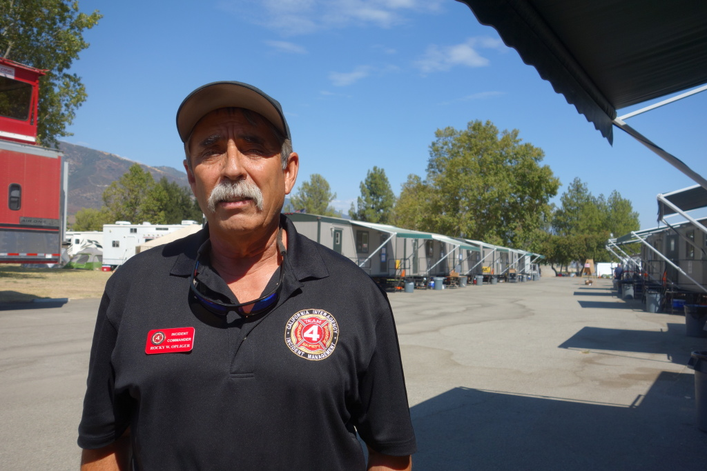 Rocky Opliger, Blue Cut Fire Incident Commander, at fire headquarters at Glen Helen Regional Park, Aug. 22, 2016