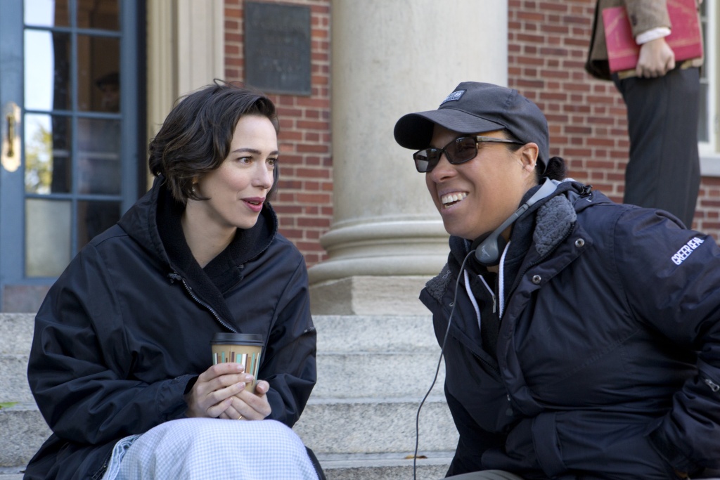 Actor Rebecca Hall and director Angela Robinson on the set of PROFESSOR MARSTON AND THE WONDER WOMEN, an Annapurna Pictures release. Credit: Claire Folger / Annapurna Pictures