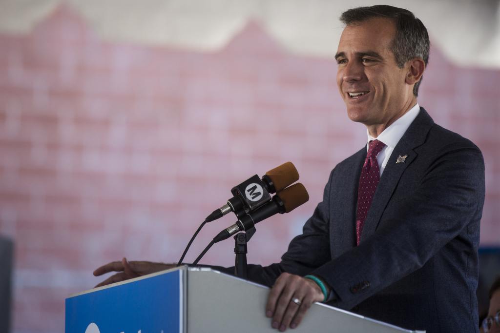 Mayor Eric Garcetti speaking in Little Tokyo on Oct. 29, 2016. Garcetti is seeking reelection in the March 7 primary. He is competing against a field of 10 candidates.
