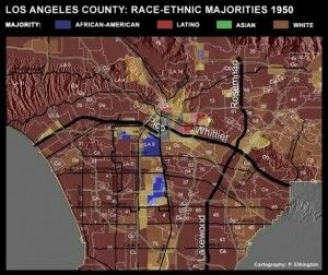 Screen shot of changing demographics map on KCET.org, January 2011